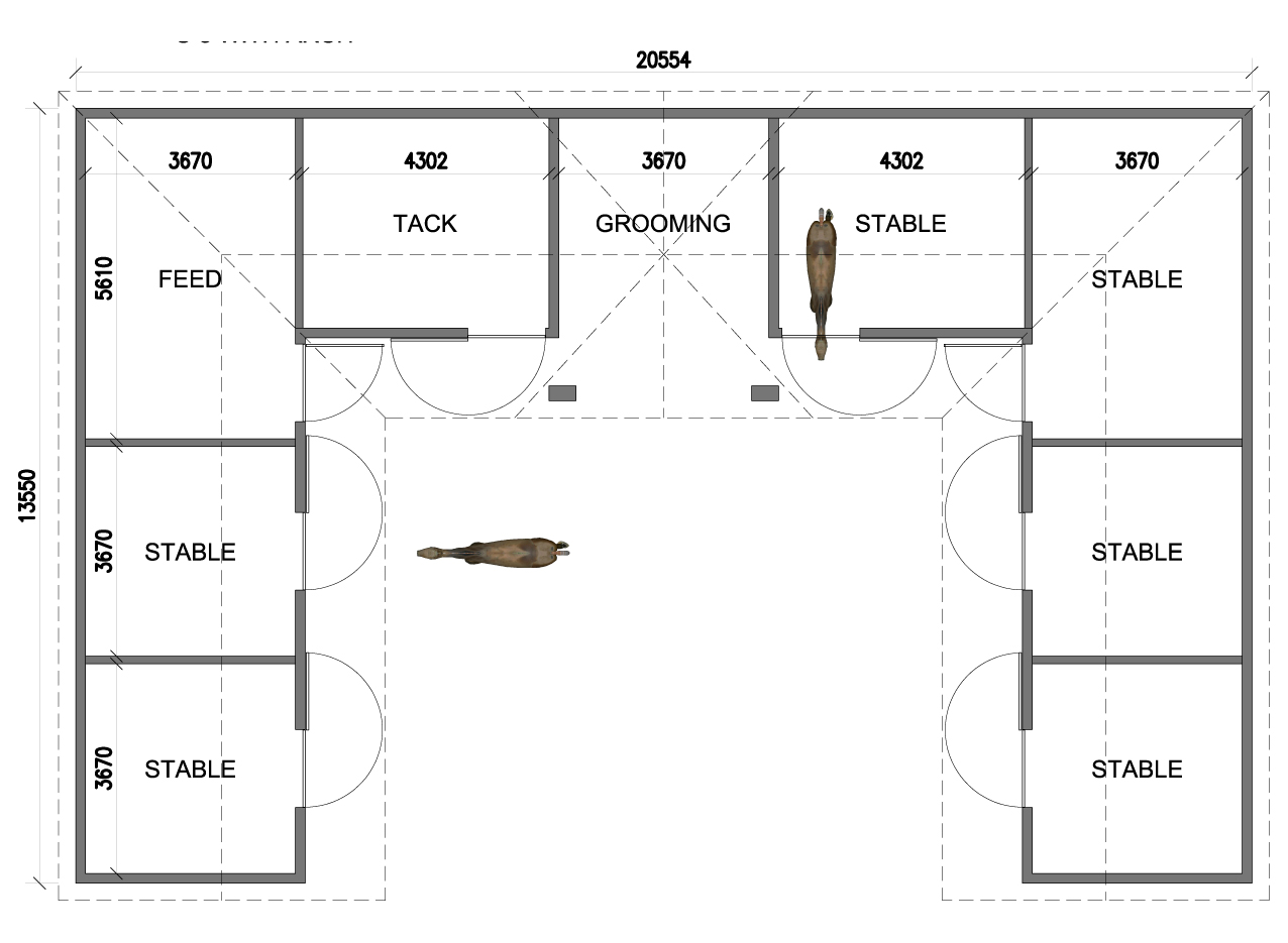 Mustang 6 stables for Horse stable blueprints